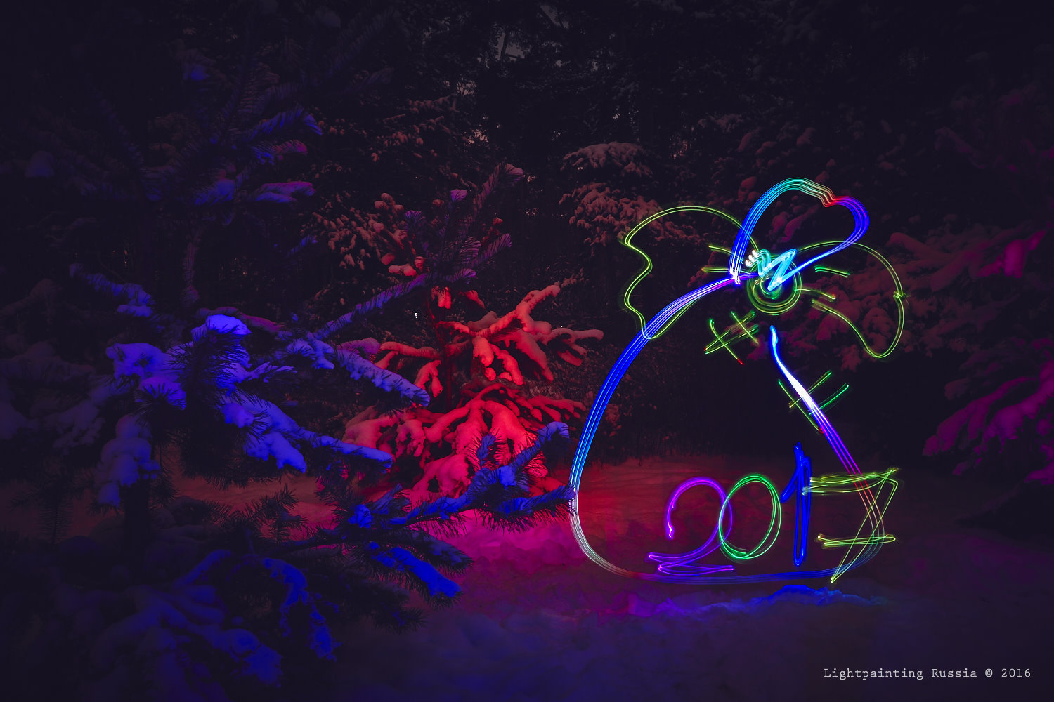 Light painting Happy new year 2017!
